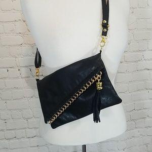 Handbags - Italian black leather with gold hardware